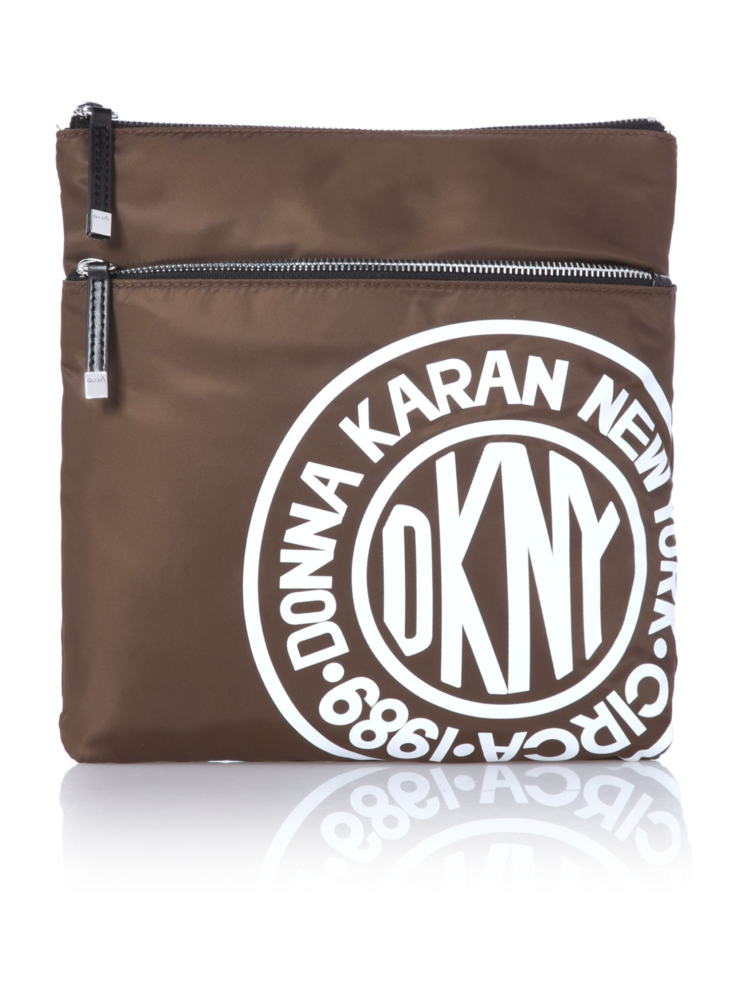 Nylon logo green small crossbody