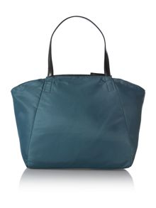 Nylon logo blue large tote bag