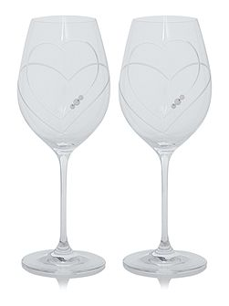 Twin Heart Swarovski red wine glasses S2
