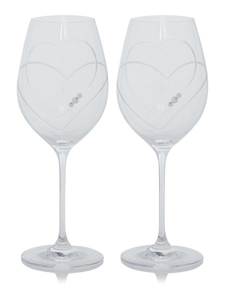 Linea Twin heart swarovski crystal red wine glasses S2