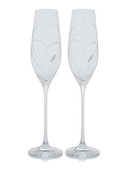 Linea S/2 Twin heart champagne flutes