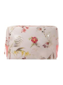 Nude large floral print bowcon wash bag