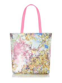 Multi coloured tree umbrella bowcon tote bag