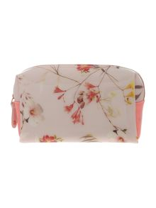 Nude small floral print cosmetics bag
