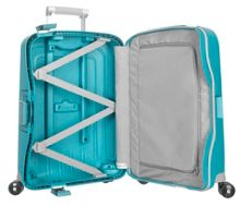 S`cure aqua blue 4 wheel 55cm spinner