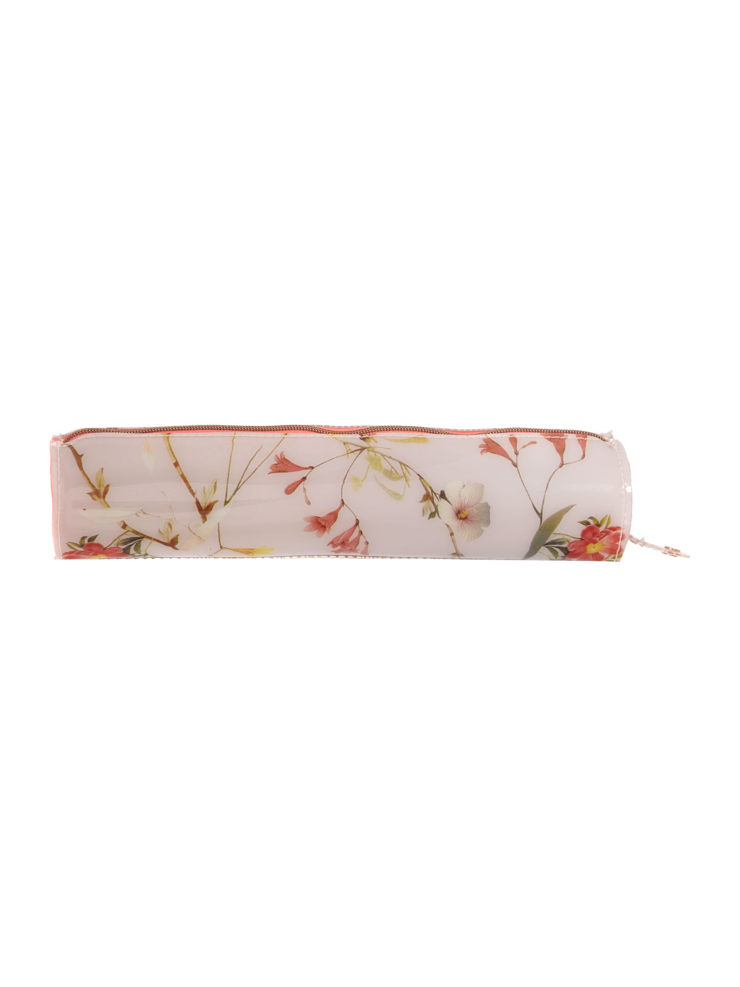 Nude floral print pencil case