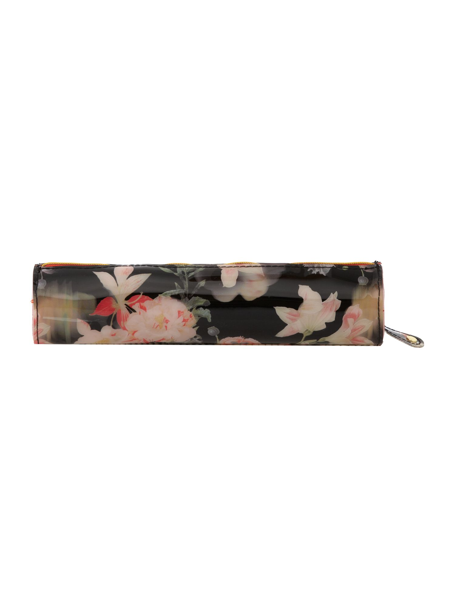 Black floral print pencil case