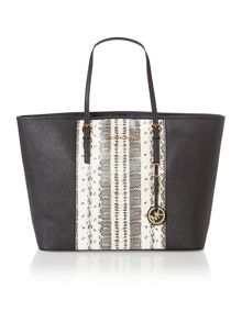 Jet set travel black snake medium tote bag