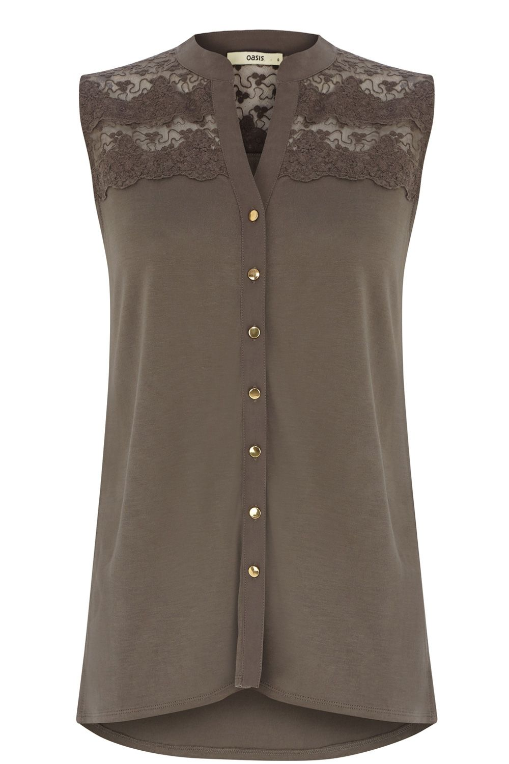 Sleeveless lace yoke shirt