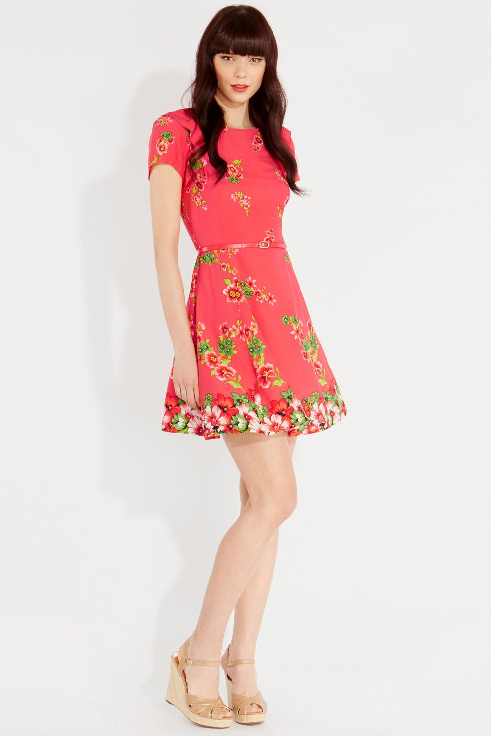 Trailing rose placement skater dress