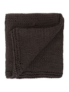 Lisse hand knitted throw in anthracite grey