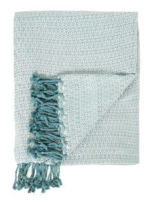 Spider viscose Throw in ivory/dusty turquoise