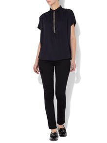Embellished placket shirt