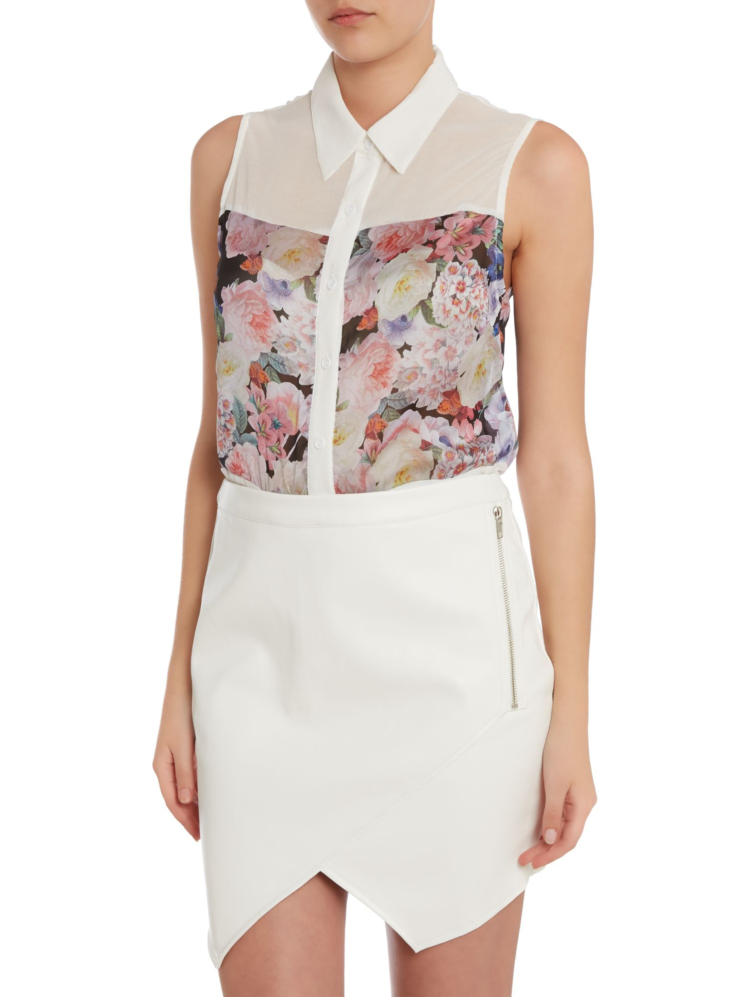 Sleeveless floral panel shirt