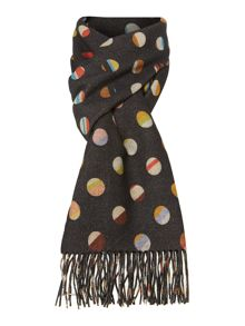 Double face swirl spot cashmere mix scarf