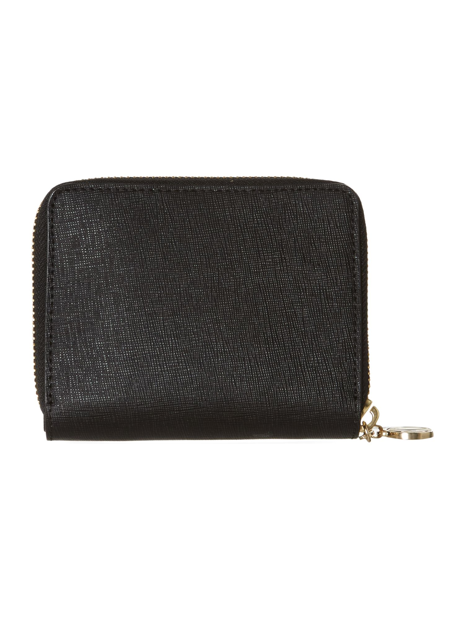 Saffiano black small zip around