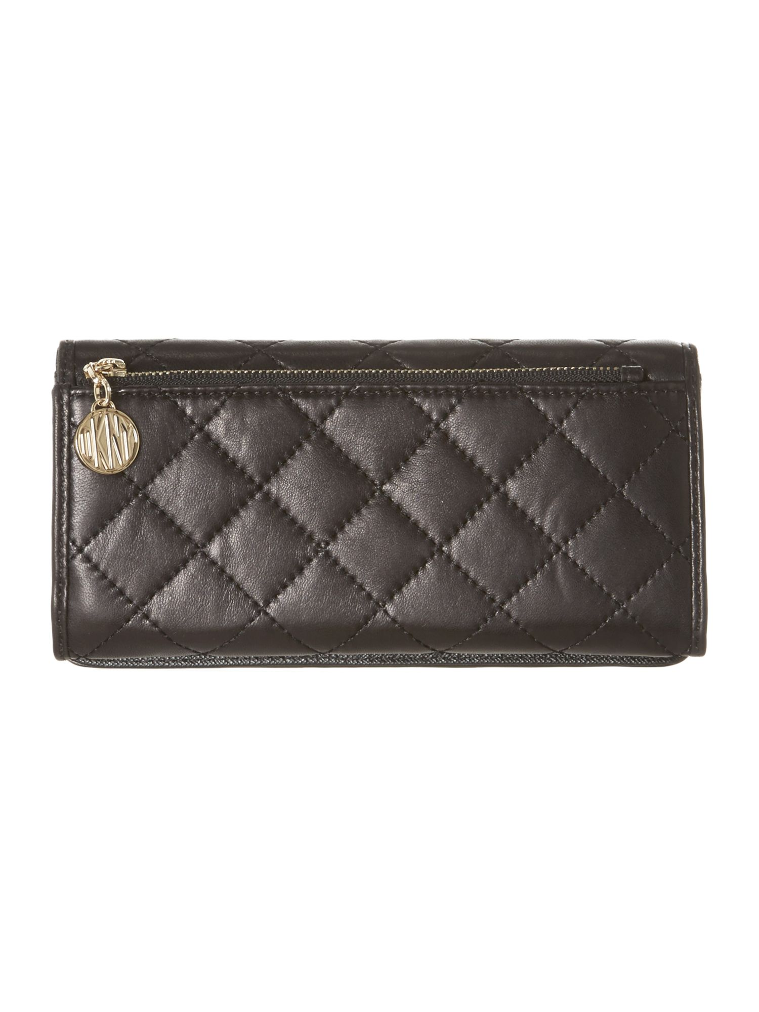 Black large quilted flapover