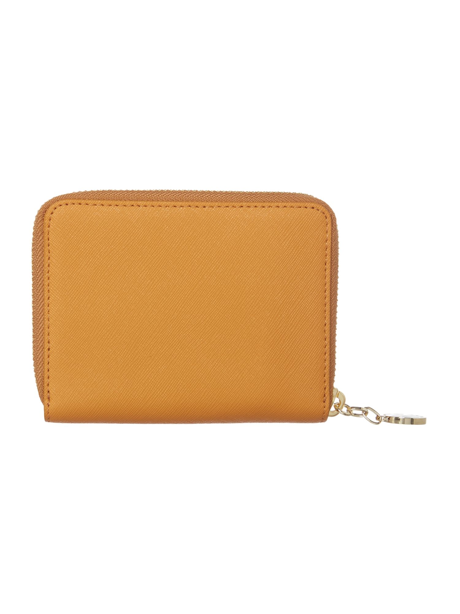 Saffiano tan small zip around