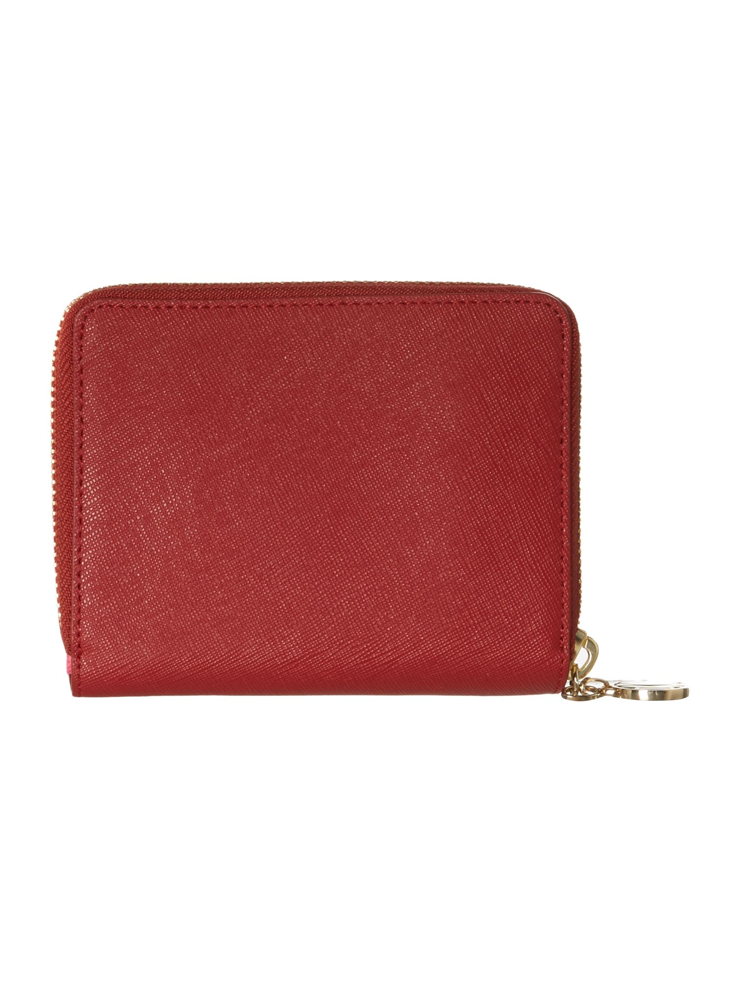 Saffiano red small zip around