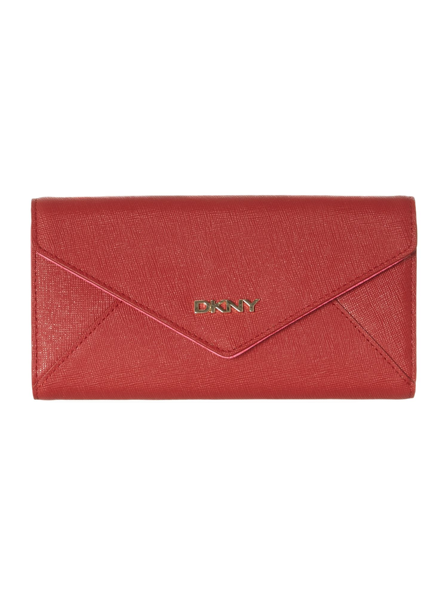 Saffiano red large envelope flapover