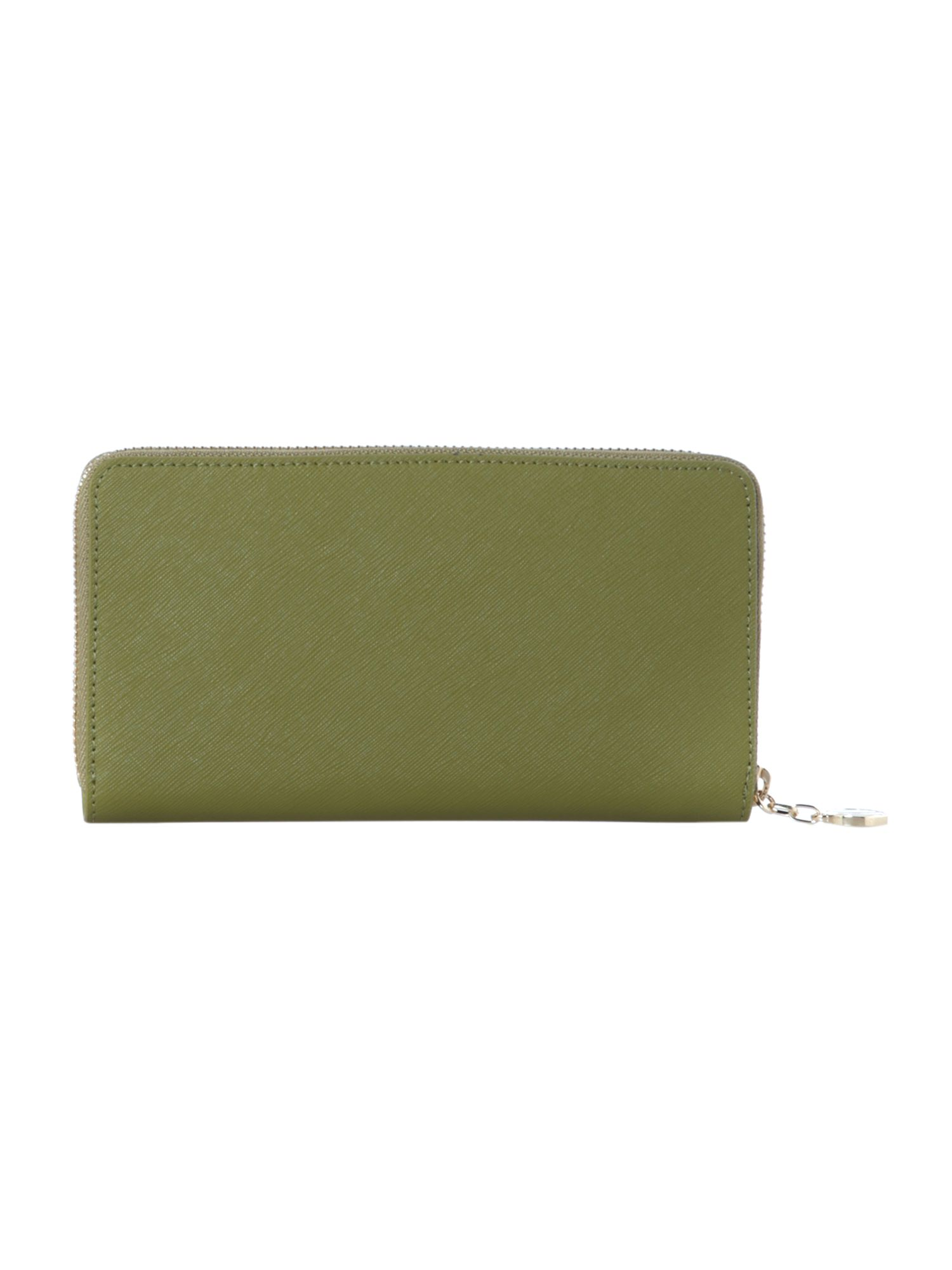 Saffiano green large boxed zip around