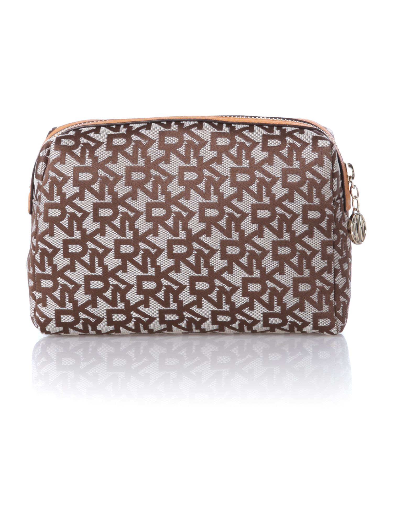 Saffiano tan cosmetic bag