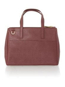 Phoebe burgundy large saffiano tote bag