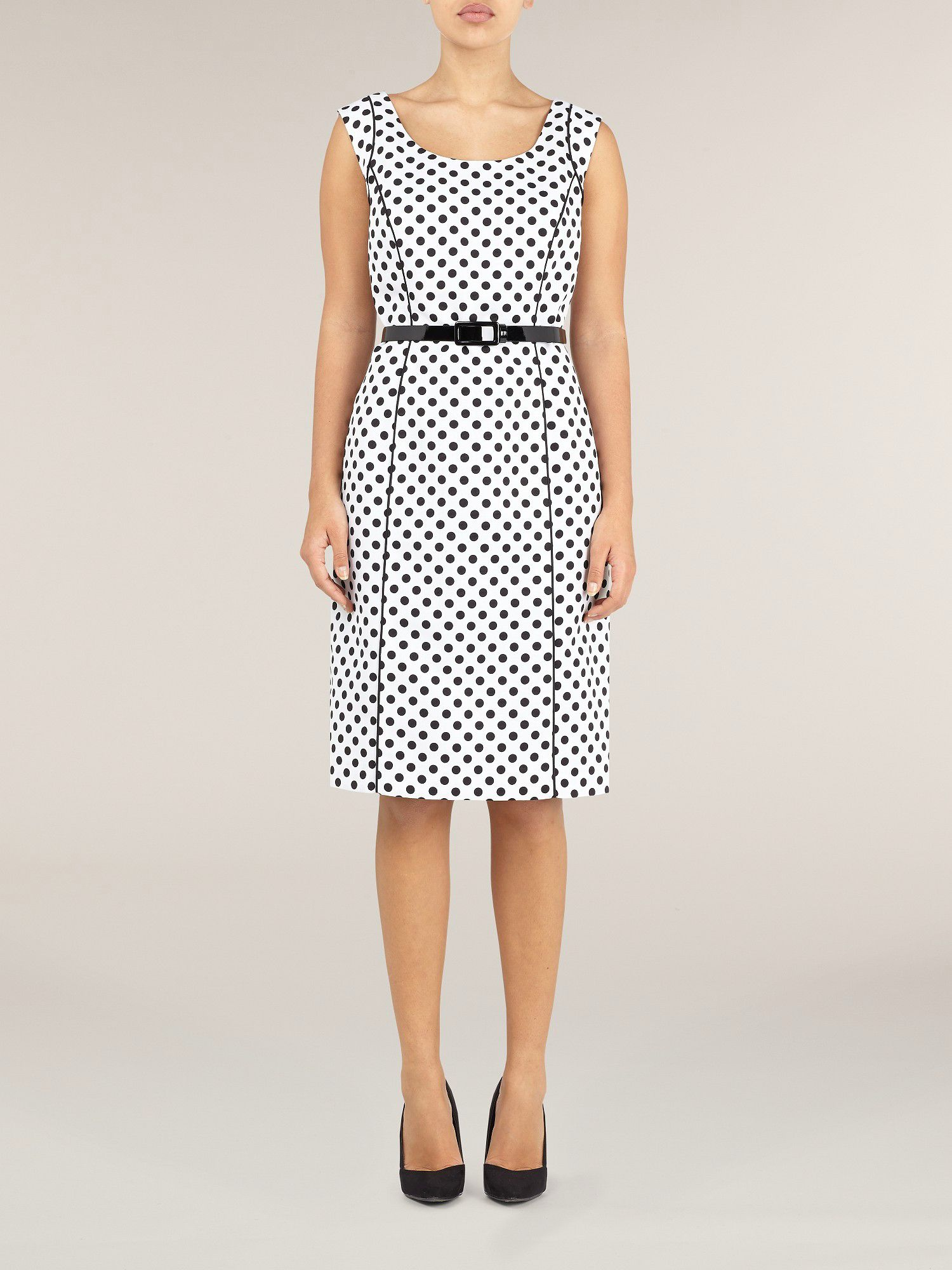 Ottoman polka dot shift dress