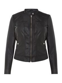 Pu collarless biker jacket