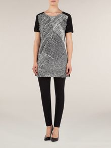 Print & solid jersey tunic