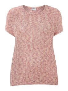 Plus Size Short sleeve open weave knit