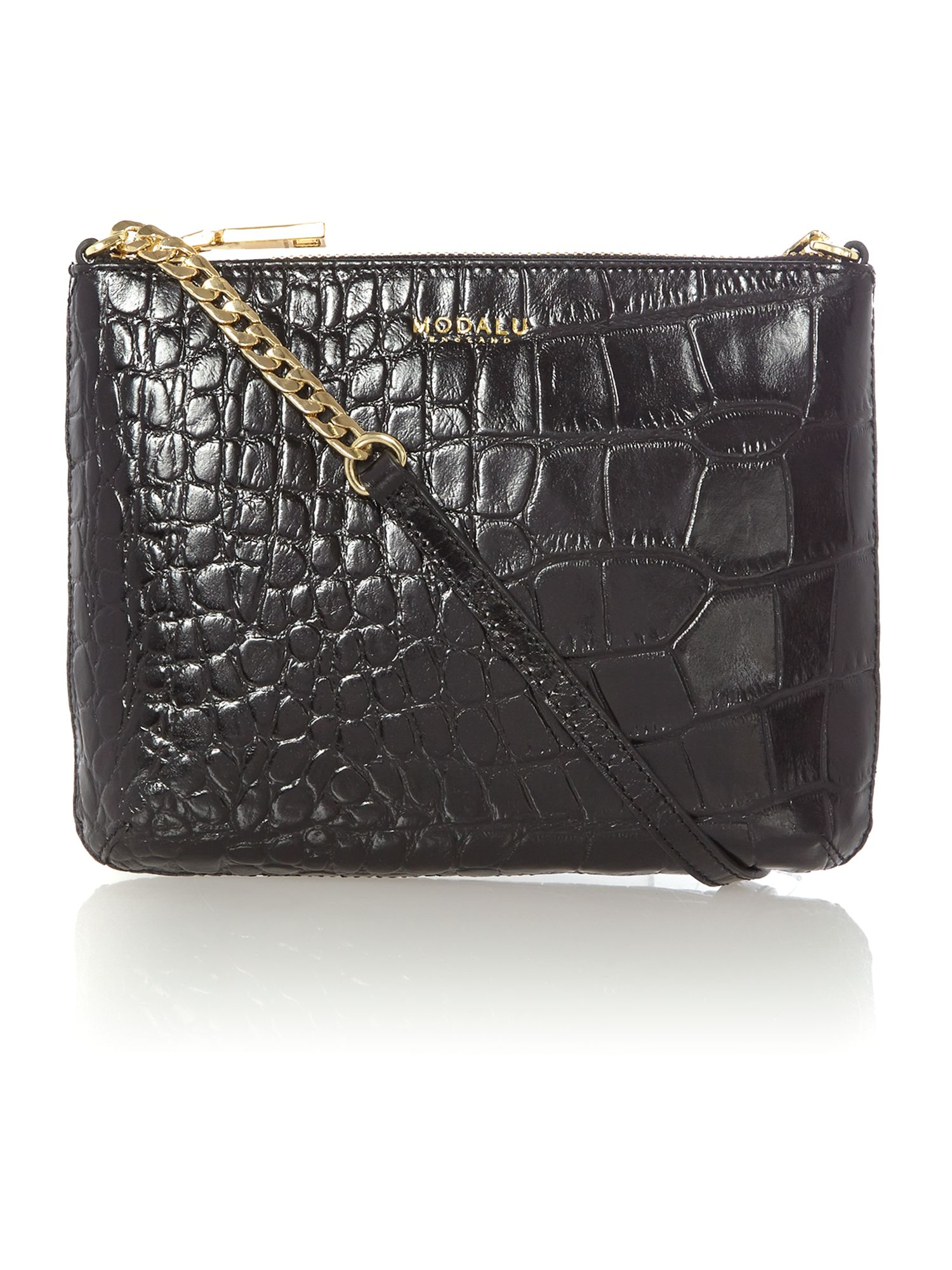 Twiggy black croc cross body bag