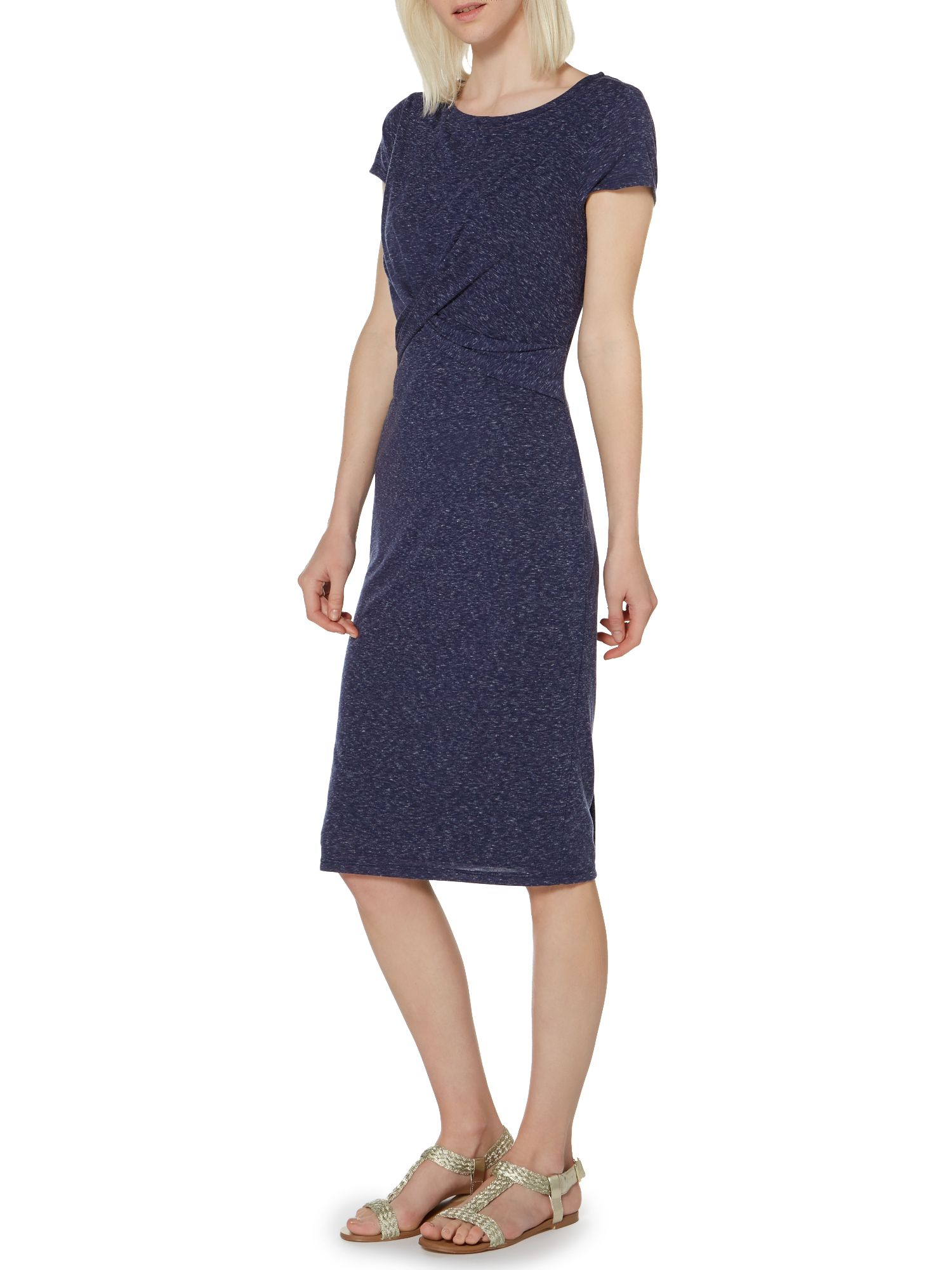 Twist front marl midi dress