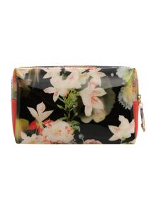 Black small floral cosmetics bag
