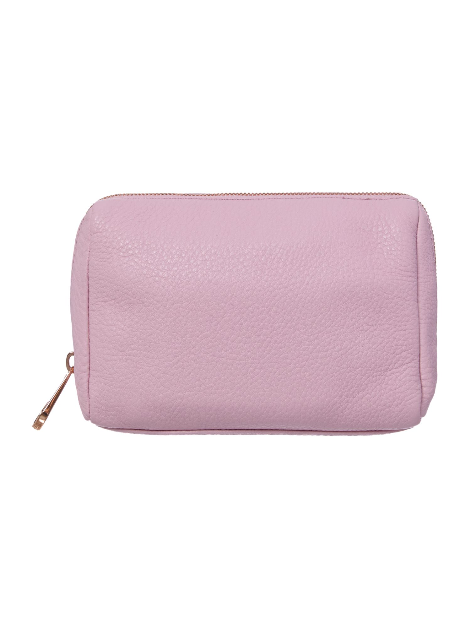 Pink leather costmetic bag