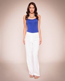 Elastic detail linen trousers