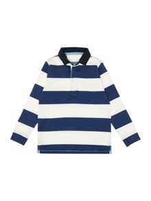Boys block stripe rugby shirt