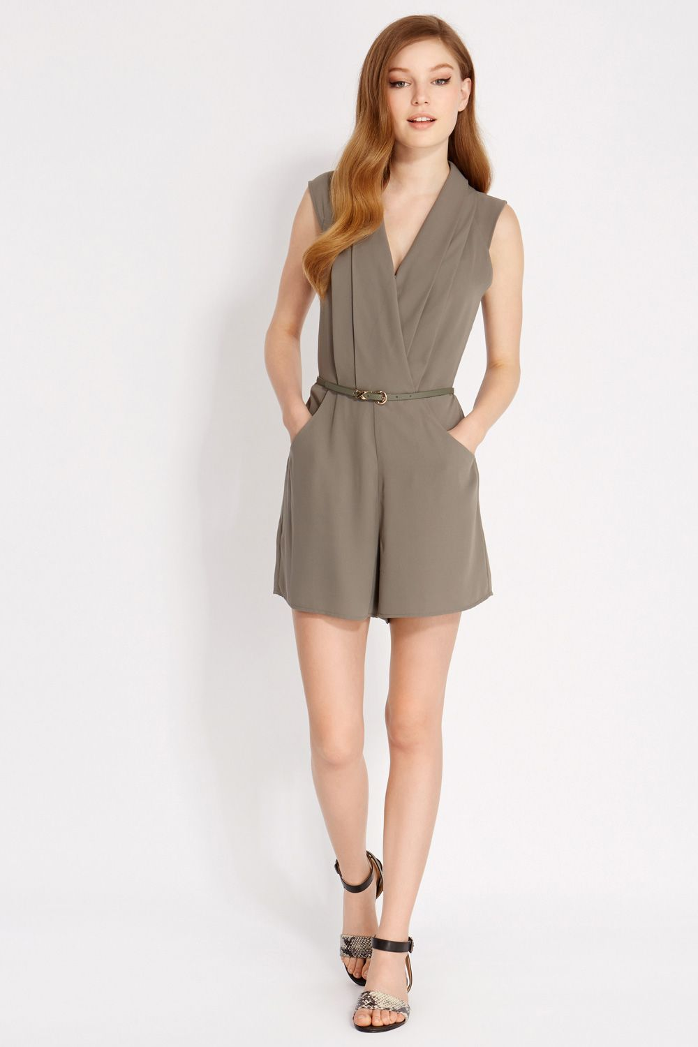 Crepe pintuck playsuit