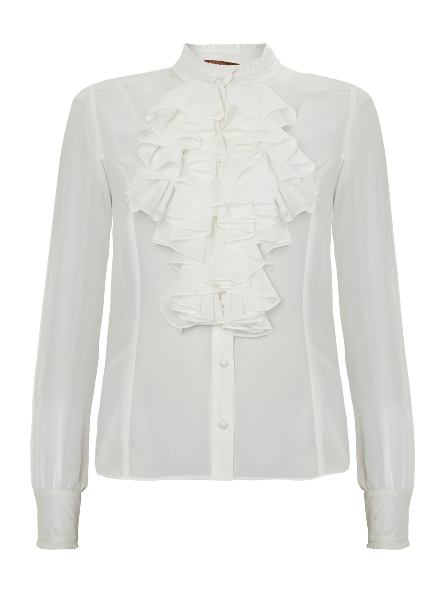 Frilly ruffle front long sleeve blouse
