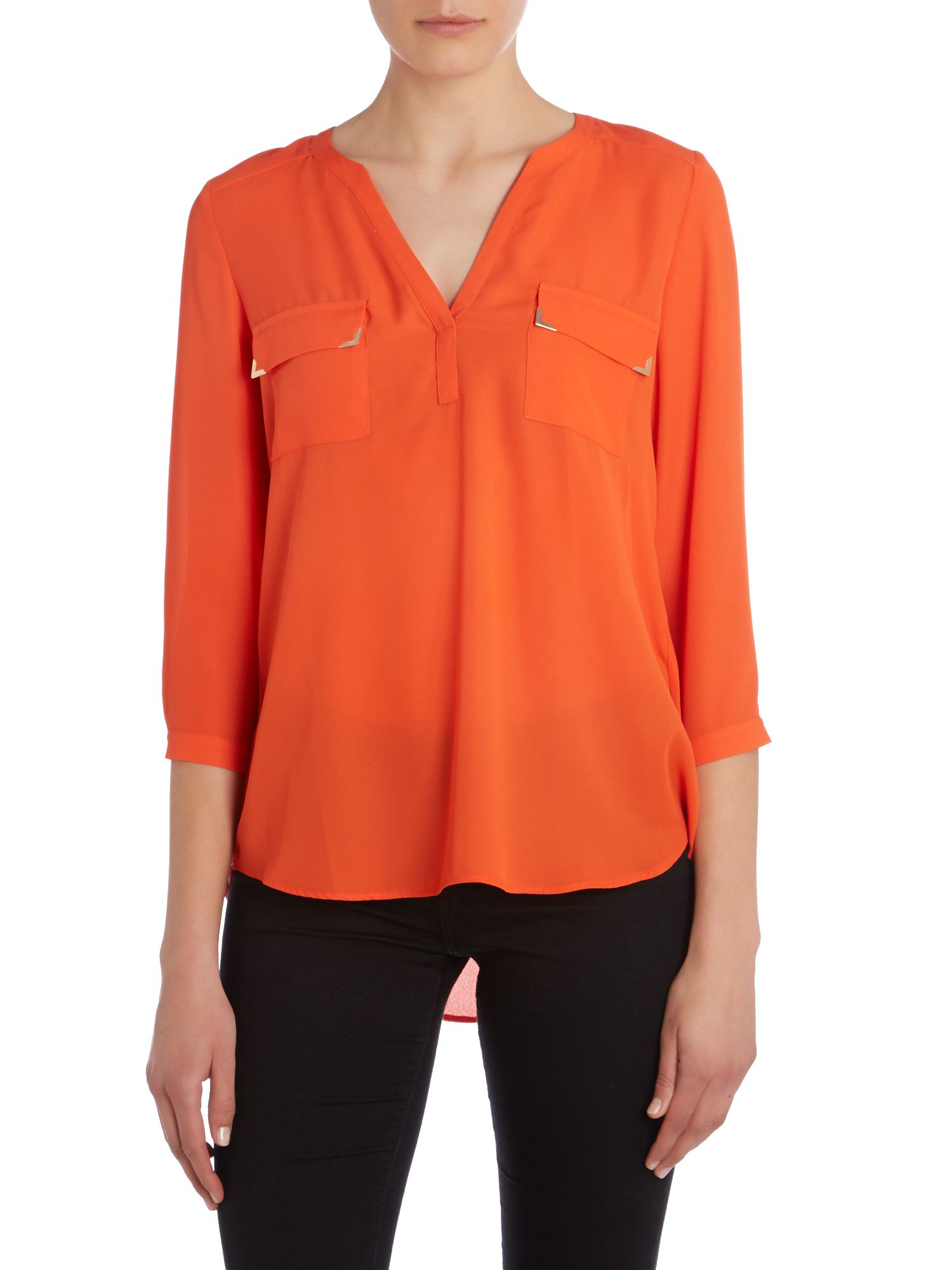Pocket front v neck blouse