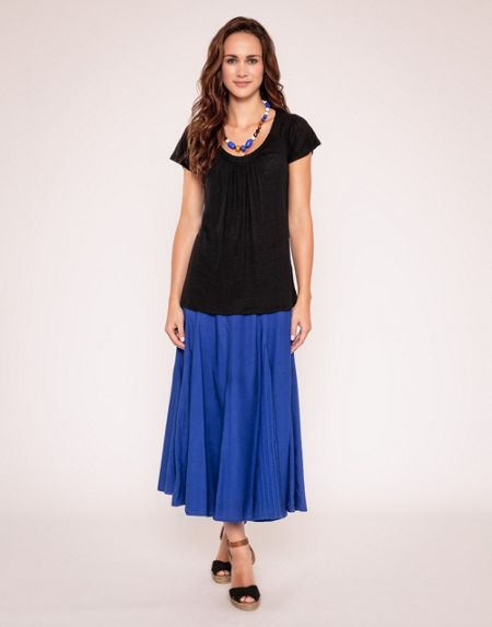 East Pleat front linen top