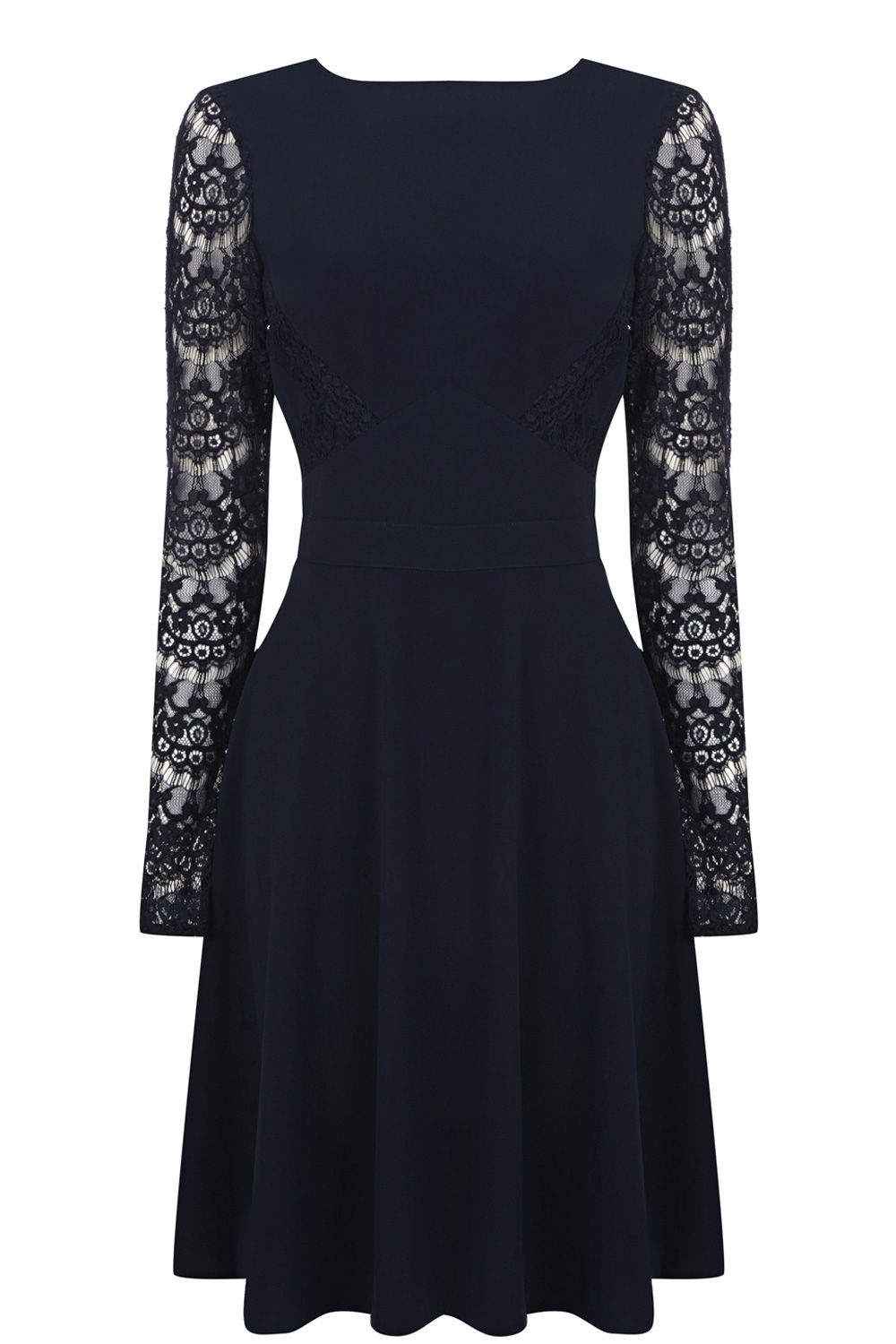 Lace sleeved skater dress