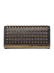 Black large stud flapover purse
