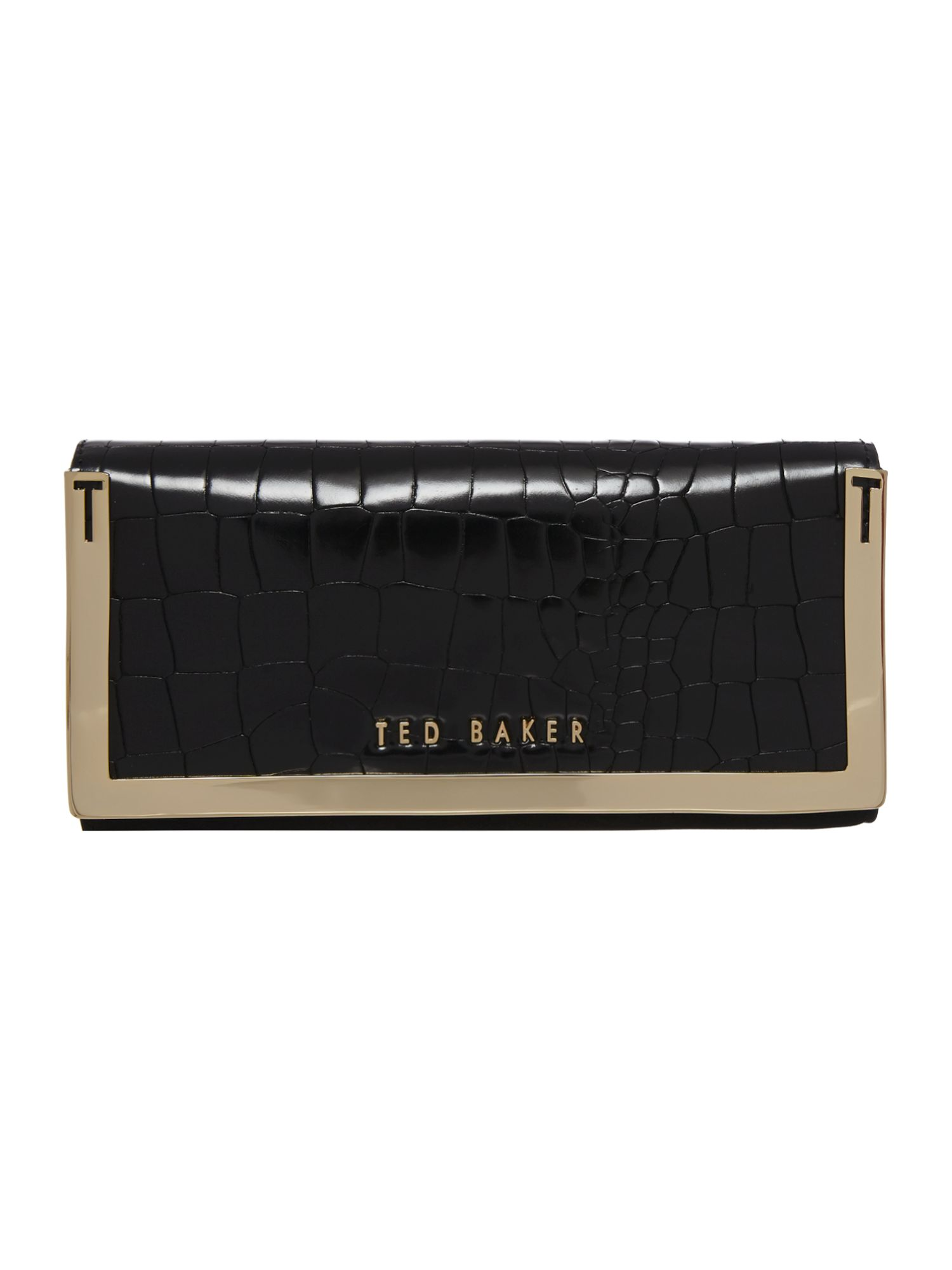 Black metal bar flapover purse