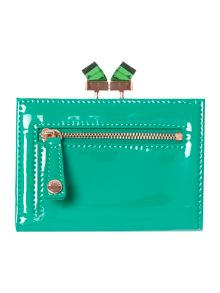 Green small patent crystal matinee purse