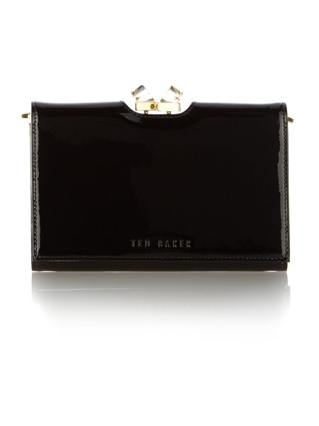 Ted Baker Black patent crystal bobble cross body purse