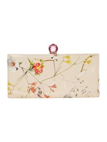 Nude floral bloom print bowcon matinee purse