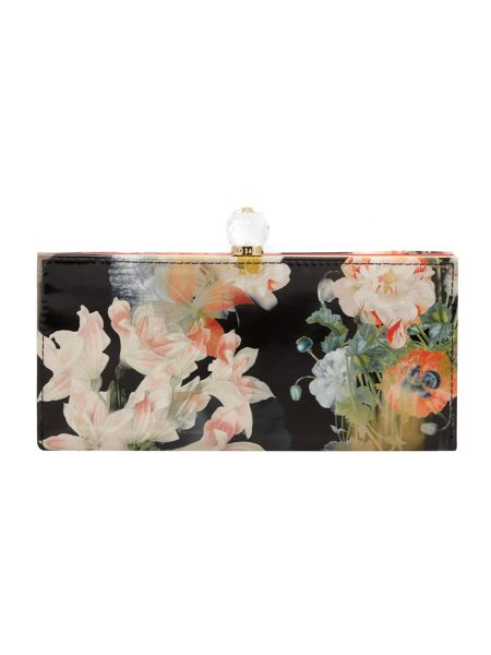Ted Baker Black floral bloom print bowcon matinee purse
