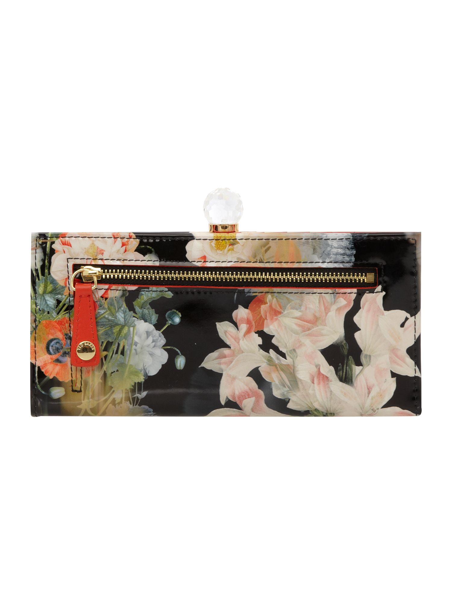 Black floral bloom print bowcon matinee purse