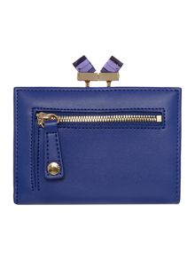 Blue small crystal leather popper purse